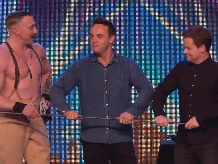 BGT extra: Ant and Dec cop a feel of strongman Daniel's rod!